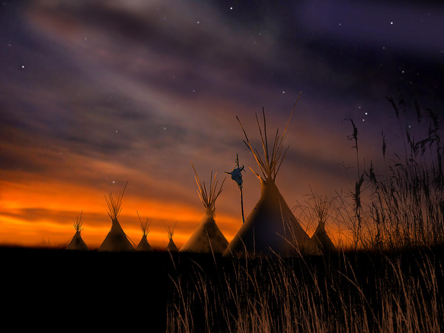 Native American Painting - Silent Teepees by Paul Sachtleben