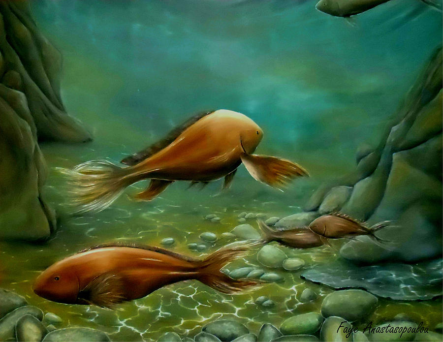 Fish Painting - Silent Wisdom by Faye Anastasopoulou