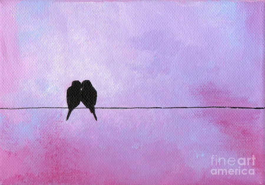Bird On A Wire Painting - Silhouette Birds by Julia Underwood