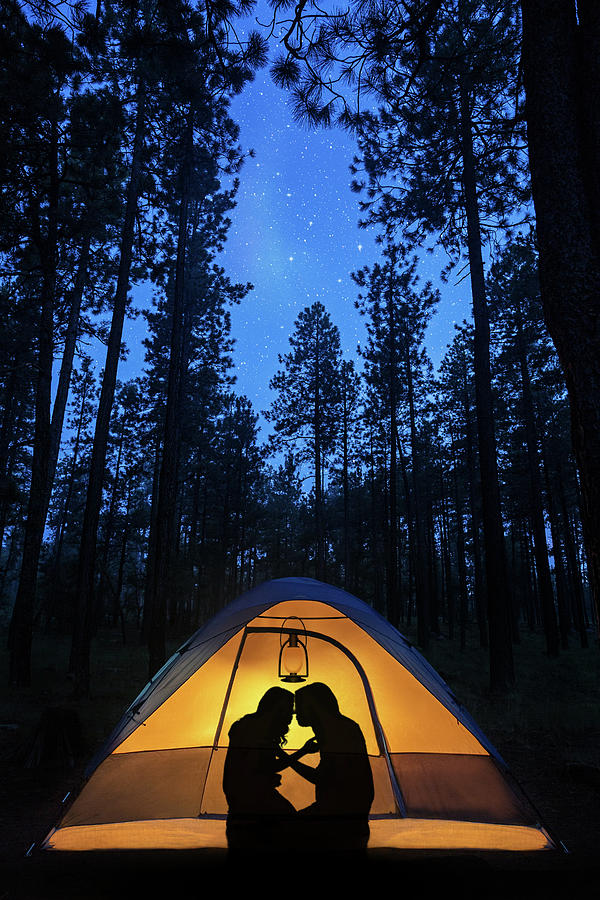 Silhouette Couple Camping Under Stars In Tent Photograph