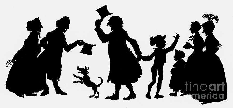 Christmas Silhouette.Silhouette Illustration From A Christmas Carol By Charles Dickens