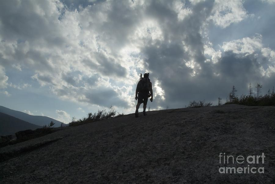 Silhouette Photograph - Silhouette Of A Hiker On Middle Sugarloaf Mountain - White Mountains New Hampshire Usa by Erin Paul Donovan