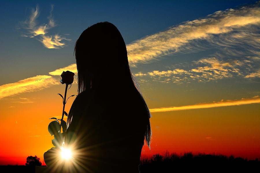 silhouette-of-girl-holding-rose-in-the-s