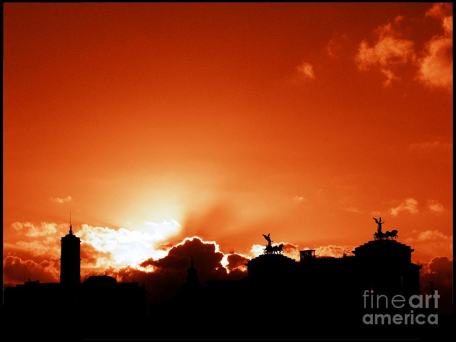 Rome Photograph - Silhouette of Rome against a sunset sky by Stefano Senise