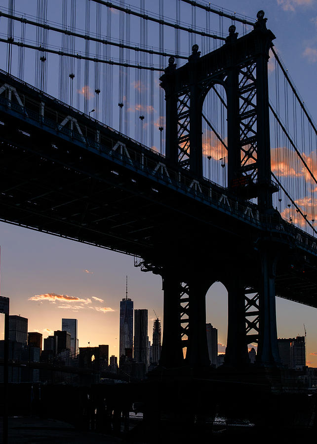 Nyc Photograph - Silhouette Of The Manhattan Bridge by Dick Wood