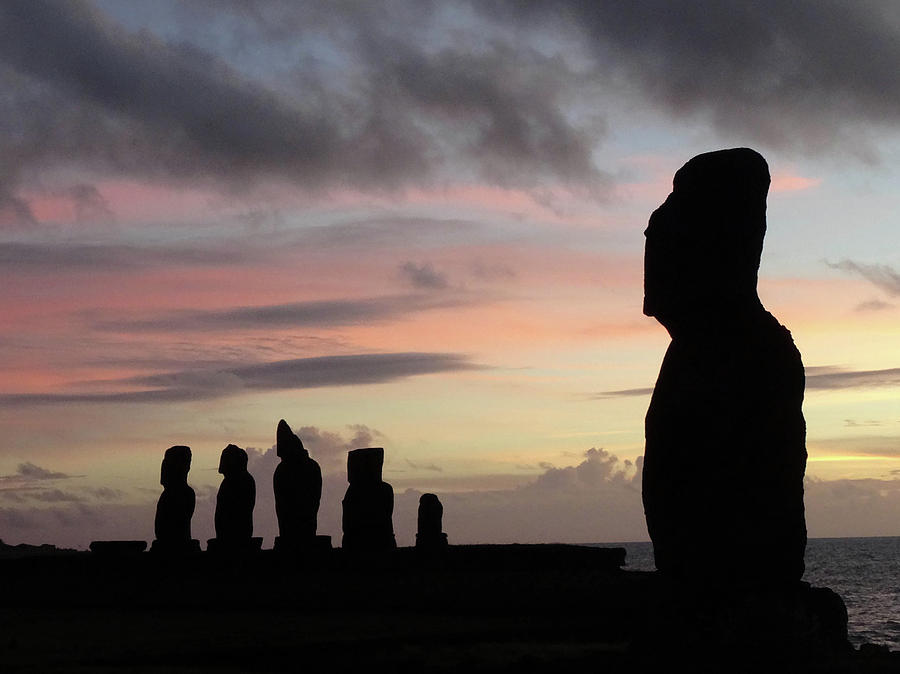 Silhouette Photograph - Silhouette Of The Moai by Jeremy Jones