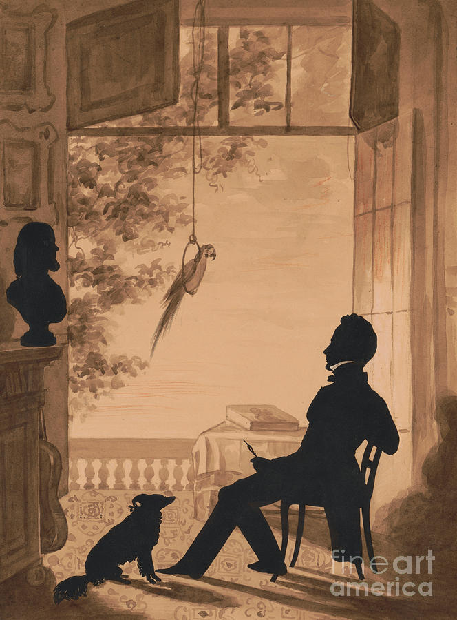 Bird Mixed Media - Silhouette Profile Of Artist Charles Fenderich, 1841 by Augustin Amant Constant Fidele Edouart