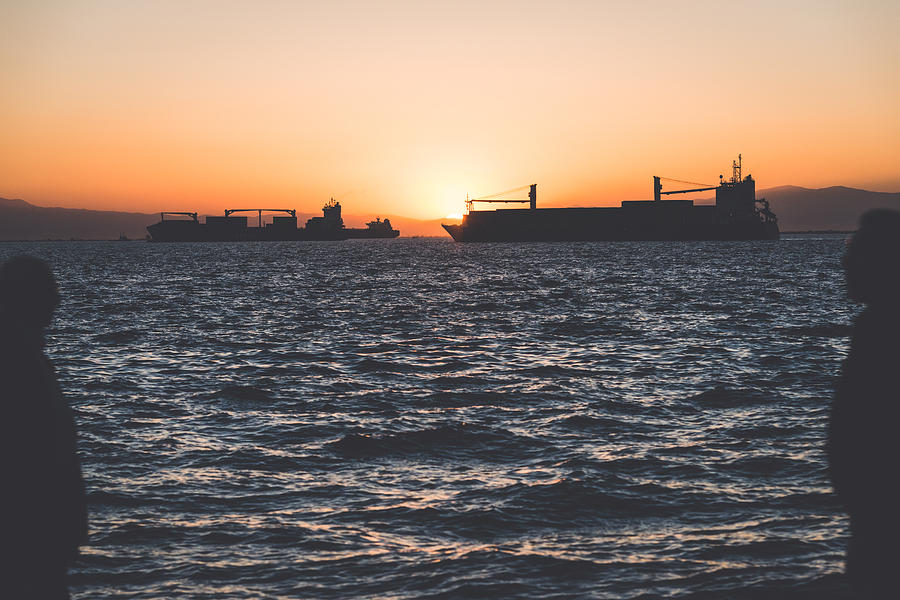 Ship Photograph - Silhouettes by Sotiris Filippou