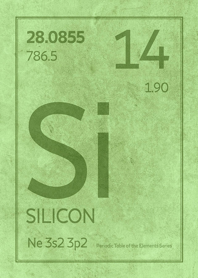 Silicon Element Symbol Periodic Table Series 014 Mixed Media By