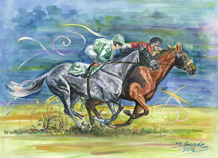 Jockey Painting - Silk Glamour by Jana Goode