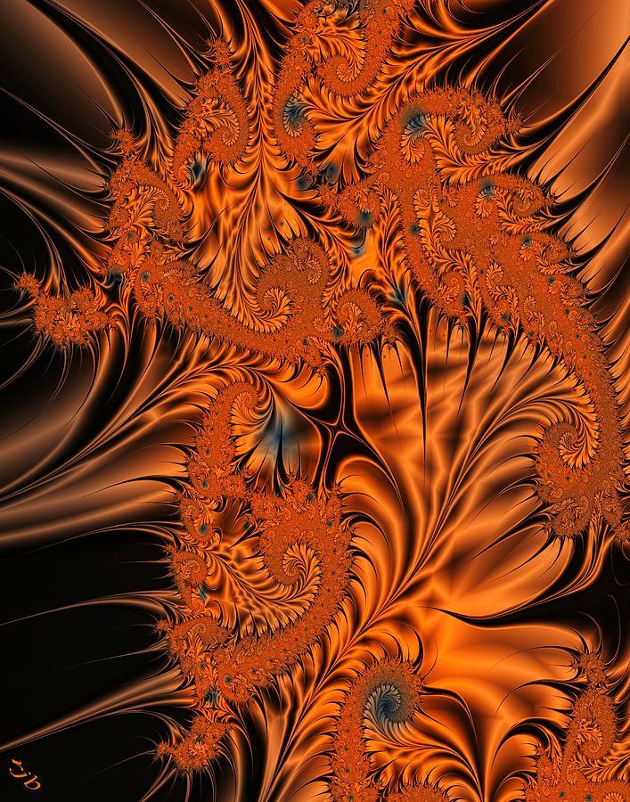 Silk Digital Art - Silk in Orange by Ron Bissett