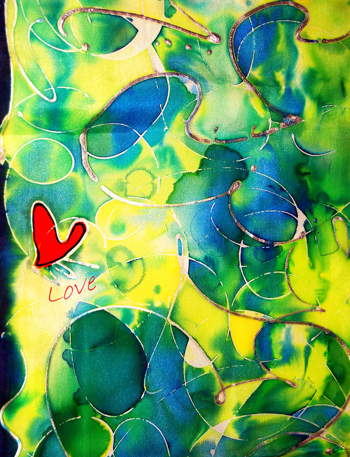 Abstract Painting - Silk Painting With A Heart  by Alexandra Jordankova