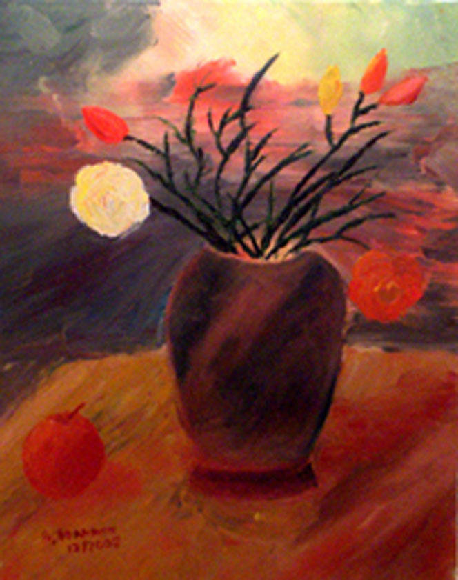Sill Life With Vase And Flowers Painting by Vasilis Ioannou