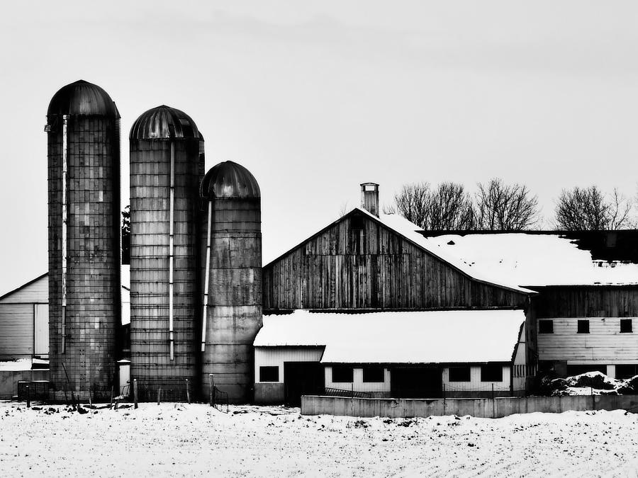 Silos Photograph - Silos And Barn by Chesley House
