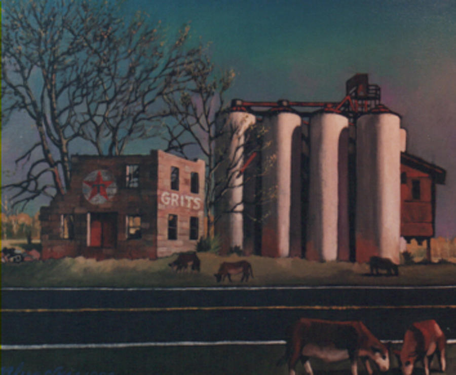 Landscape Painting - Silos by Blue Sky