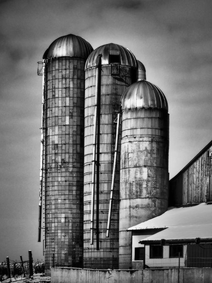 Silo Photograph - Silos Bw by Chesley House
