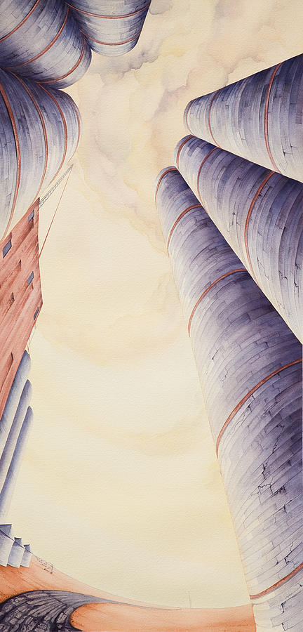 High Plains Painting - Silos Iv by Scott Kirby