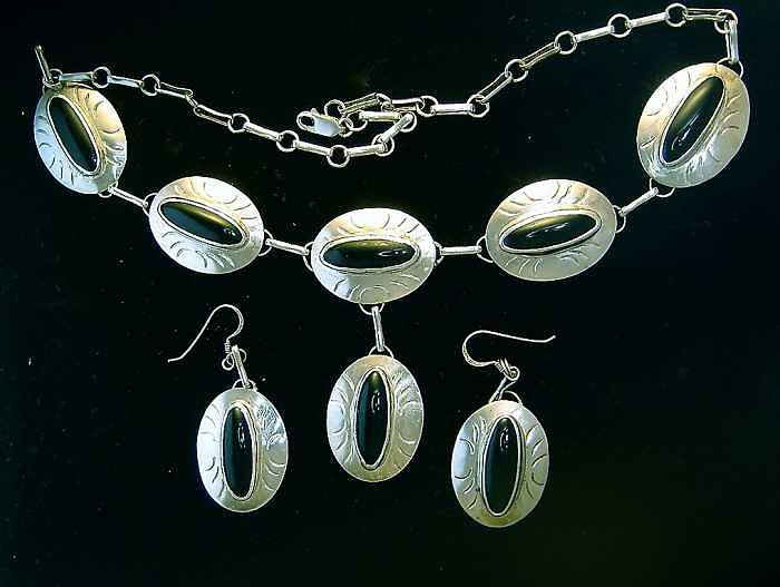 Silver Jewelry - Silver And Black Onyx Necklace Set   by Hal Sharpe