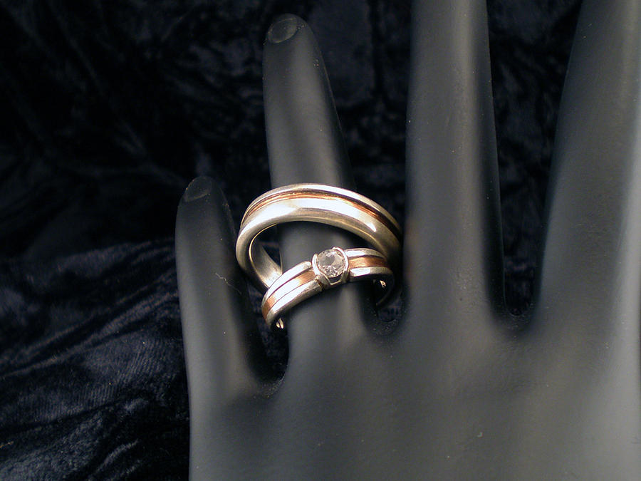 Wedding Band Jewelry - Silver And Copper Wedding Set by Mitzi Reynolds