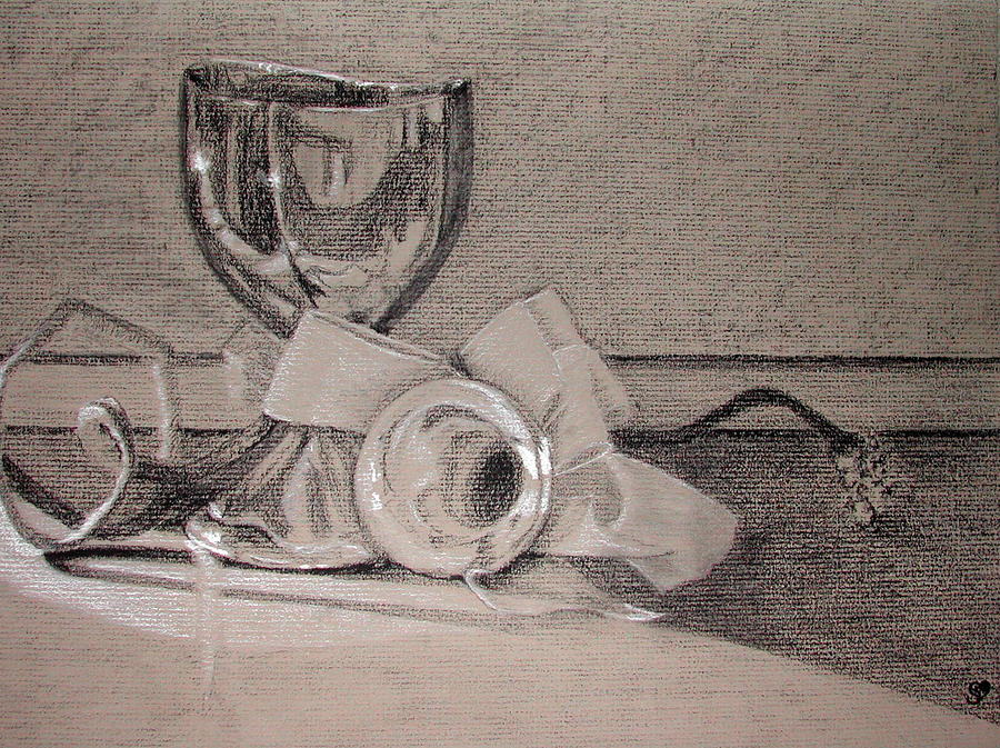 Silver Painting - Silver And Glass Still Life by Rebecca Tacosa Gray