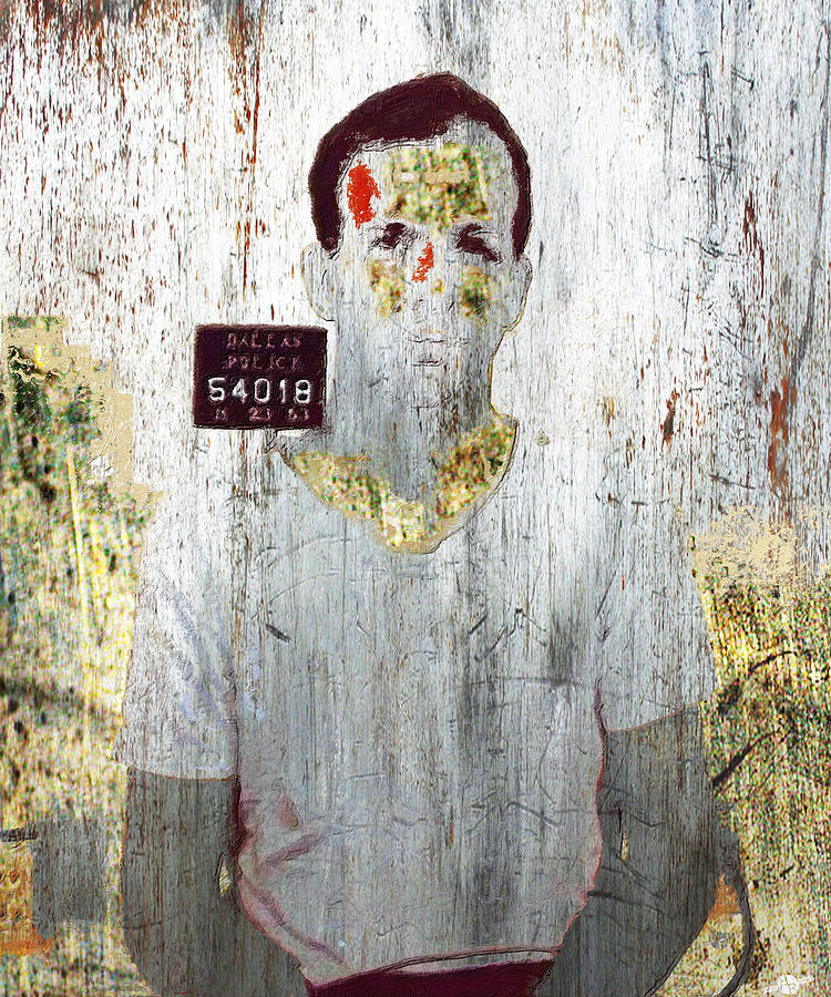 Lee Harvey Oswald Mixed Media - Silver And Gold Lee Harvey Oswald Mug Shot Nov 22 1963 Vertical Color  by Tony Rubino