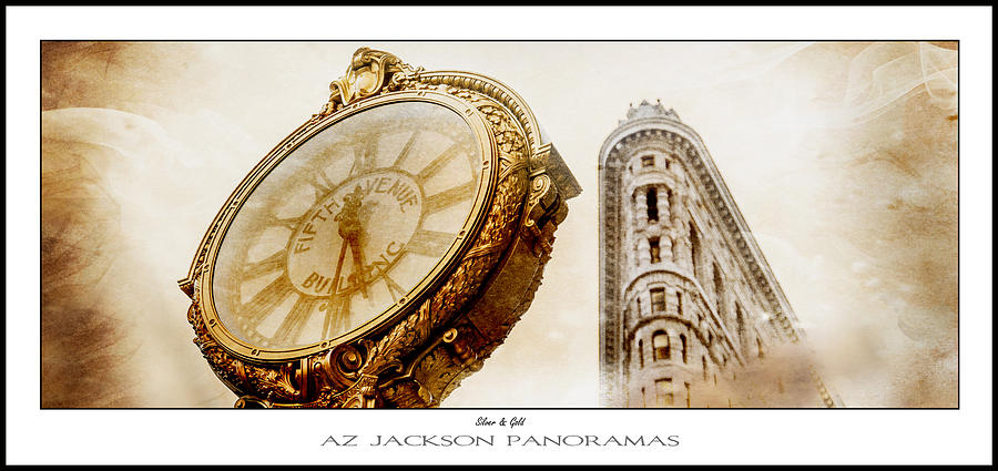 Flatiron Building Photograph - Silver and Gold Poster Print by Az Jackson