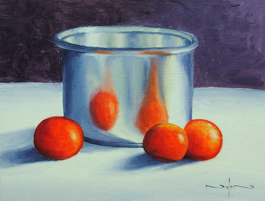 Oil Painting - Silver and Tomatoes Still Life by Nolan Clark