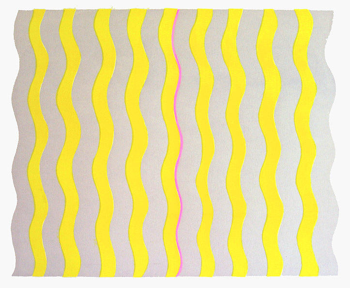 Wave Pattern Print - Silver And Yellow by Terry Anderson