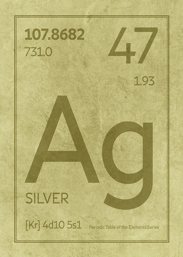 Silver Element Symbol Periodic Table Series 047 Mixed Media By
