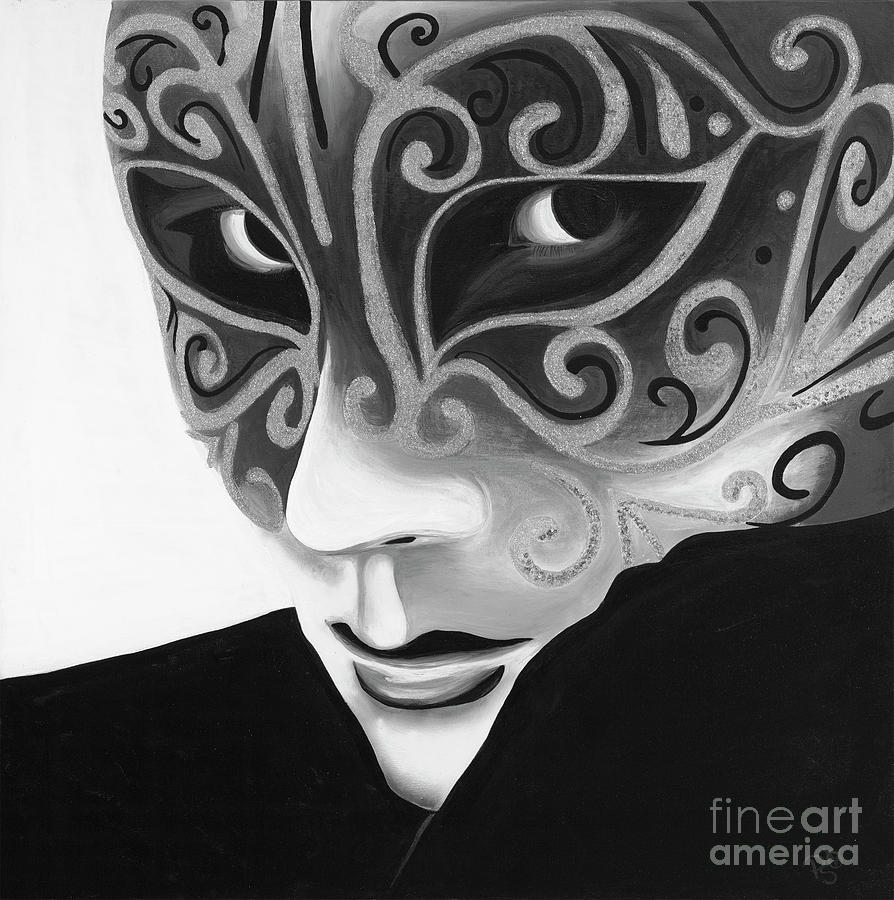 Carnival Painting - Silver Flair Mask - Bw by Patty Vicknair