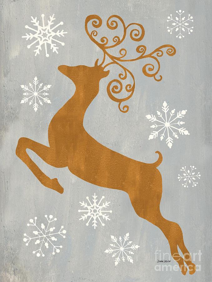 Presents Painting - Silver Gold Reindeer by Debbie DeWitt