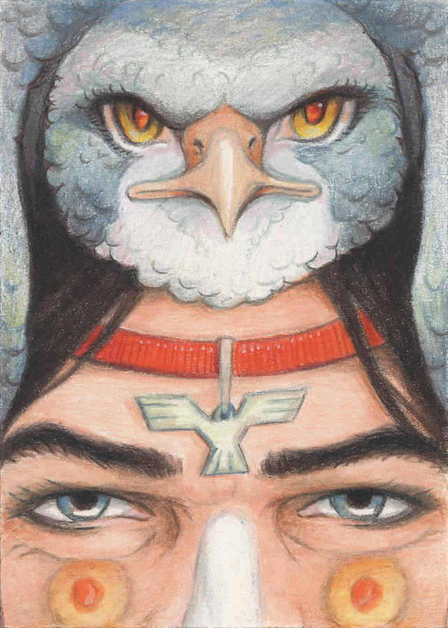 Atc Drawing - Silver Hawk Warrior by Amy S Turner