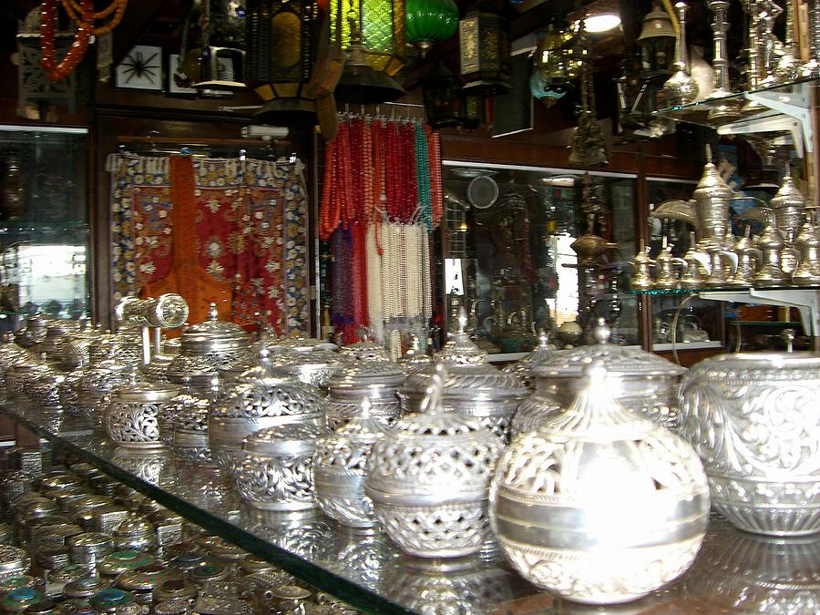 Markets Photograph - Silver In The Arabian Souq by Sunaina Serna Ahluwalia