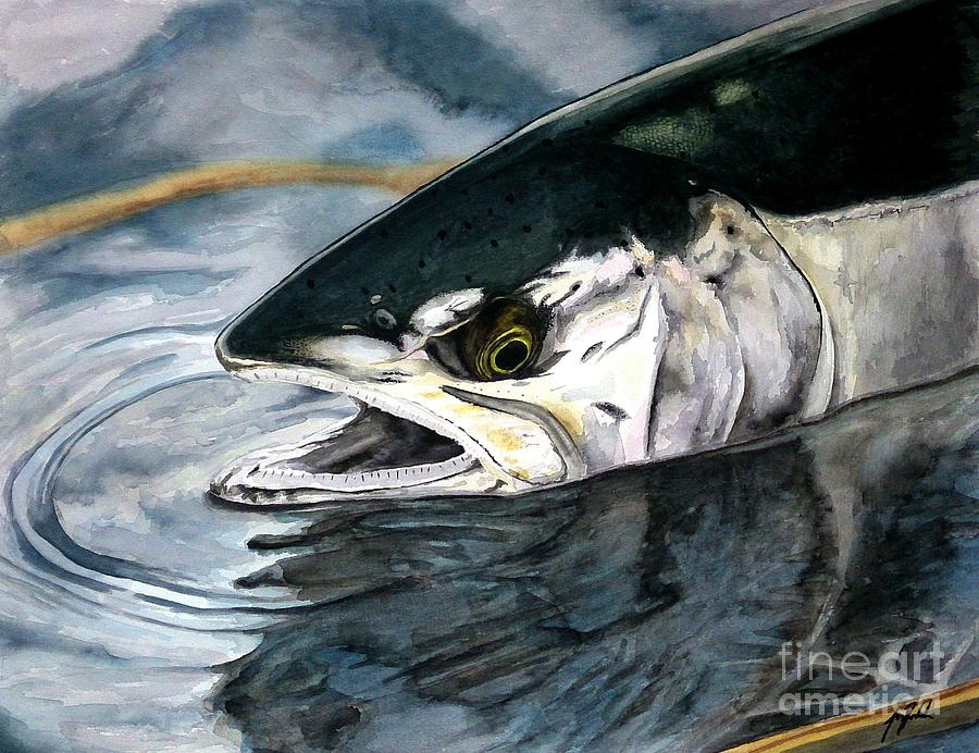 Trout Painting - Silver In The Salt by Jbs Water on Cotton