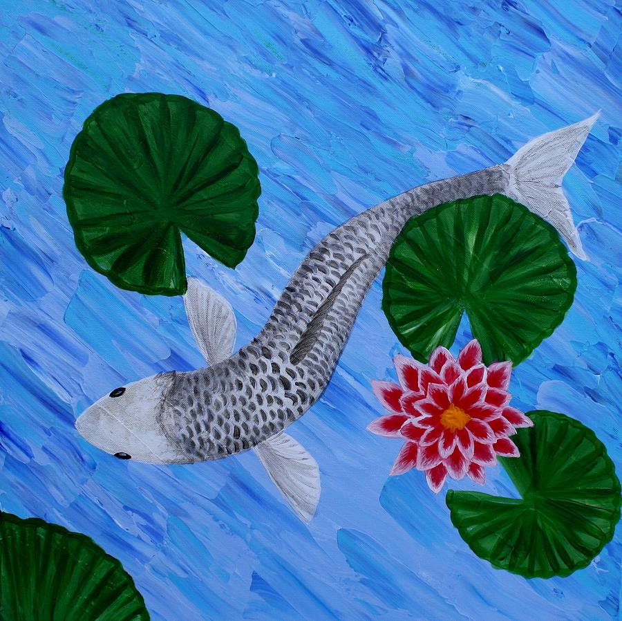 Silver koi painting by sandra love for Silver koi fish