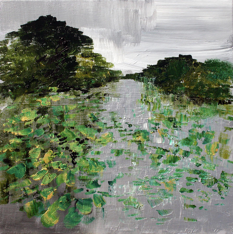 Green Painting -  Silver Lake Norfolk Botanical Garden 2018-17 by Alyse Radenovic