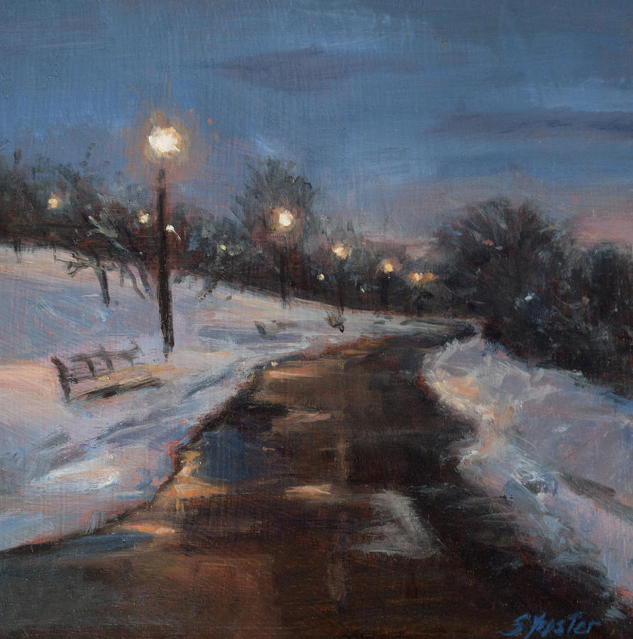 Snow Painting - Silver Lake Reservoir by Sarah Yuster