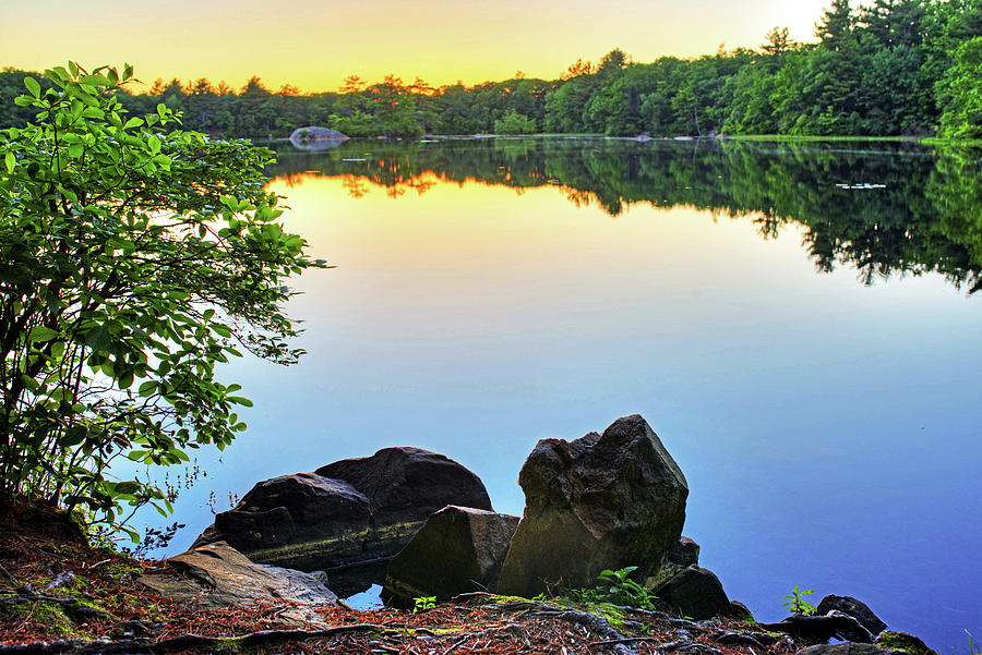 silver lake saugus ma breakheart reservation at sunset reflection