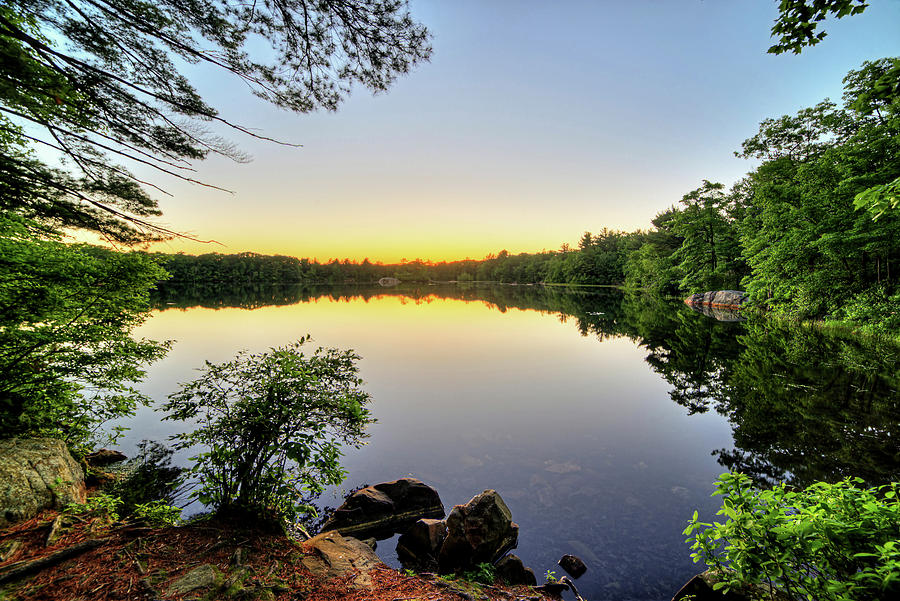 silver lake saugus ma breakheart reservation at sunset photograph by