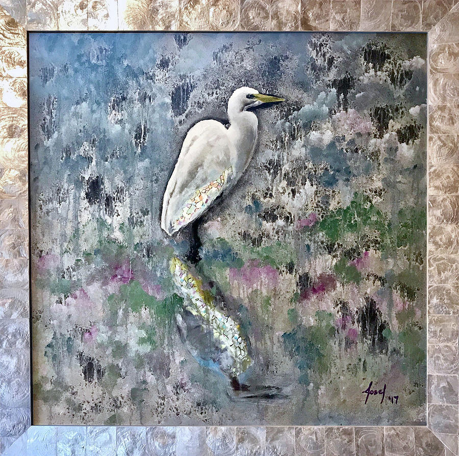 Rehoboth Beach Painting - Silver Lake Snowy Egret by Josef Kelly