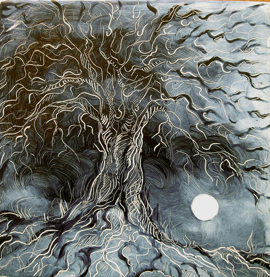 Nature Painting - Silver Moonlit Tree by Karen Doyle