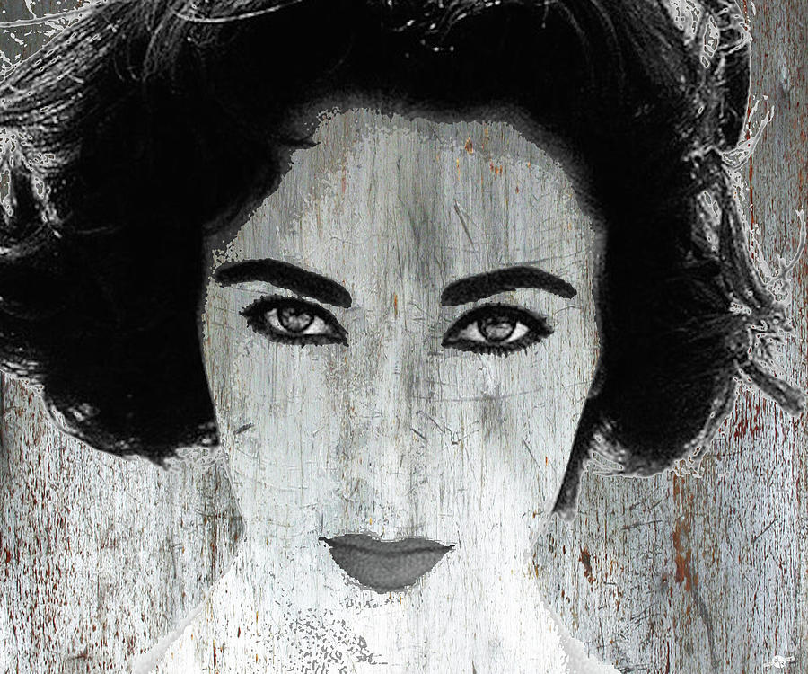 Liz Taylor Mixed Media - Silver Screen Liz Taylor by Tony Rubino
