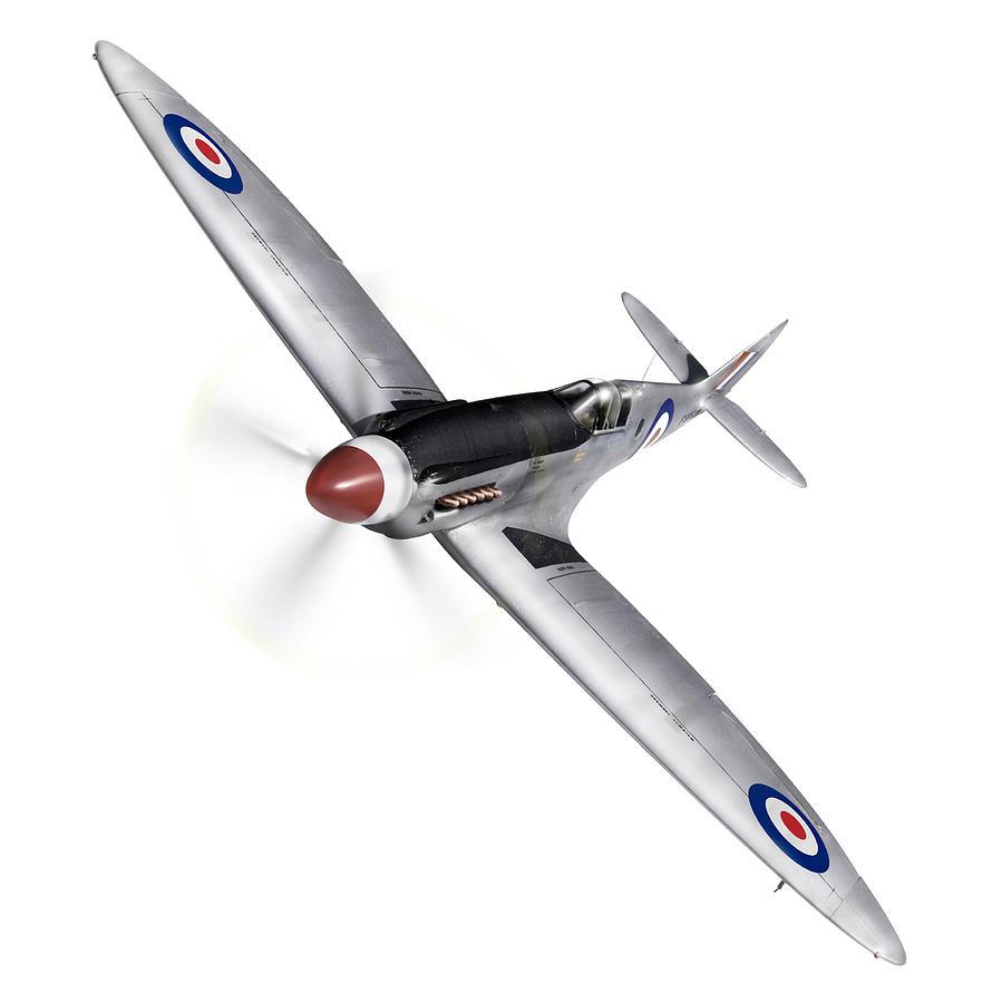 Silver Spitfire Photograph - Silver Spitfire Pr Xix Cutout by Gary Eason