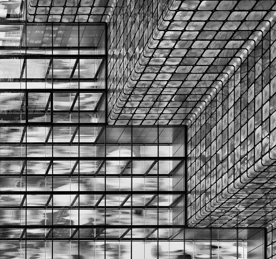 Hall Photograph - Silver Squares by Greetje Van Son