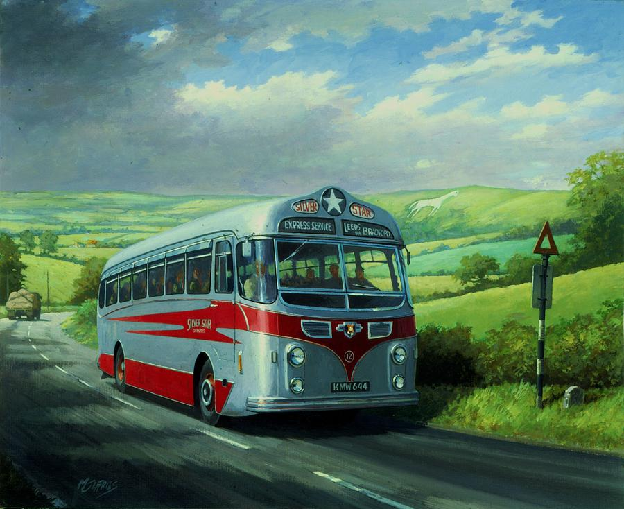 Commission A Painting Painting - Silver Star Leyland Coach by Mike  Jeffries