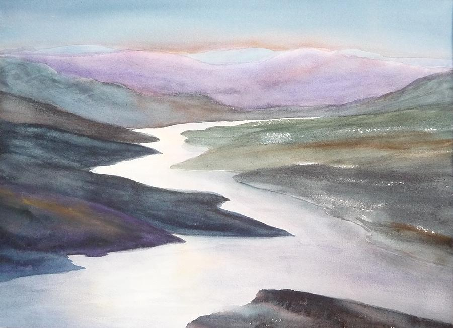 River Painting - Silver Stream by Ruth Kamenev