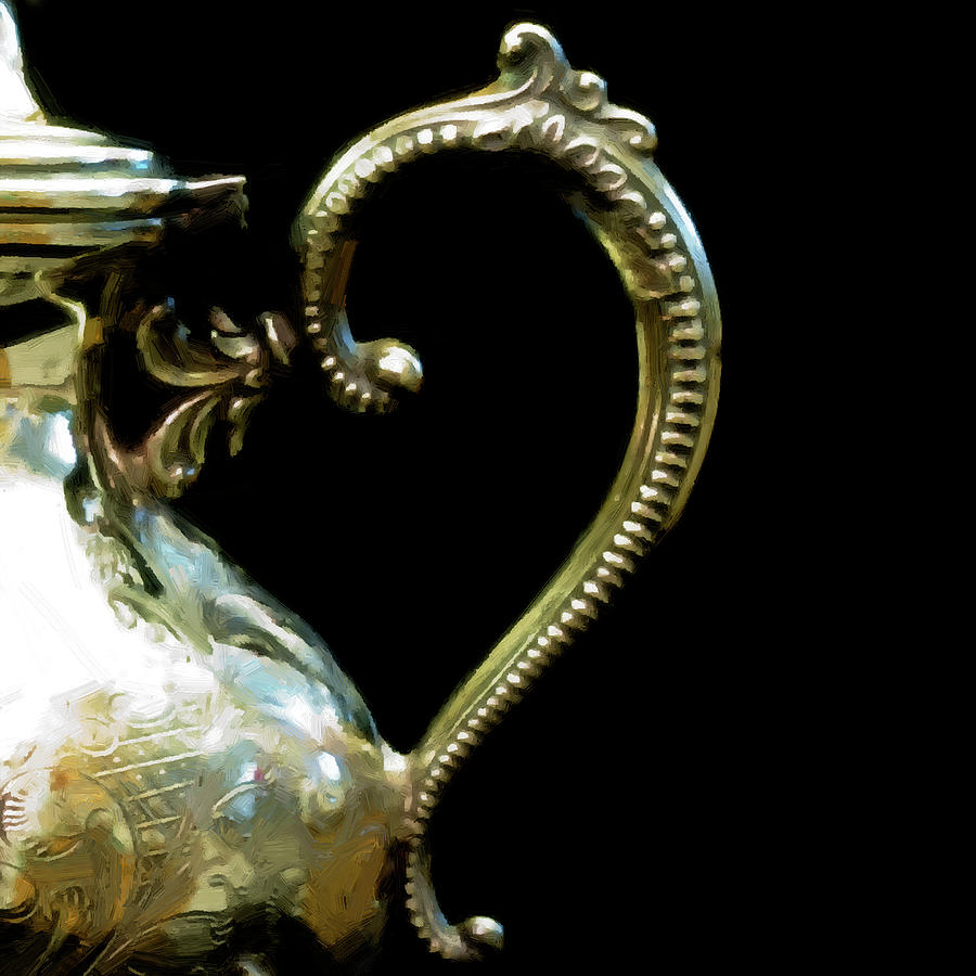 Silver Digital Art - Silver Tea Pot Handle - Digital Oil Art Work by Sandra Foster