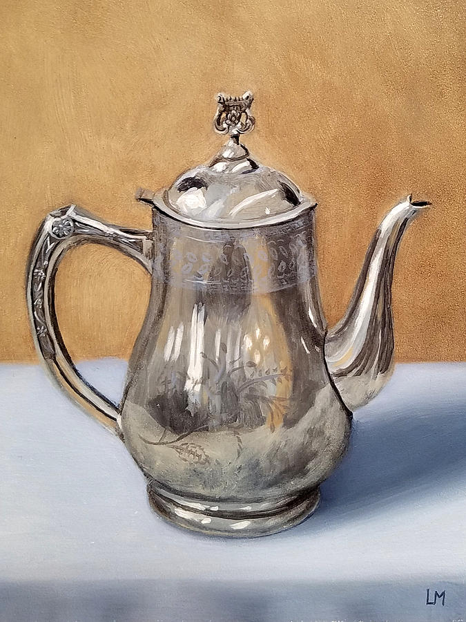 Oil Painting - Silver Teapot by Linda Merchant