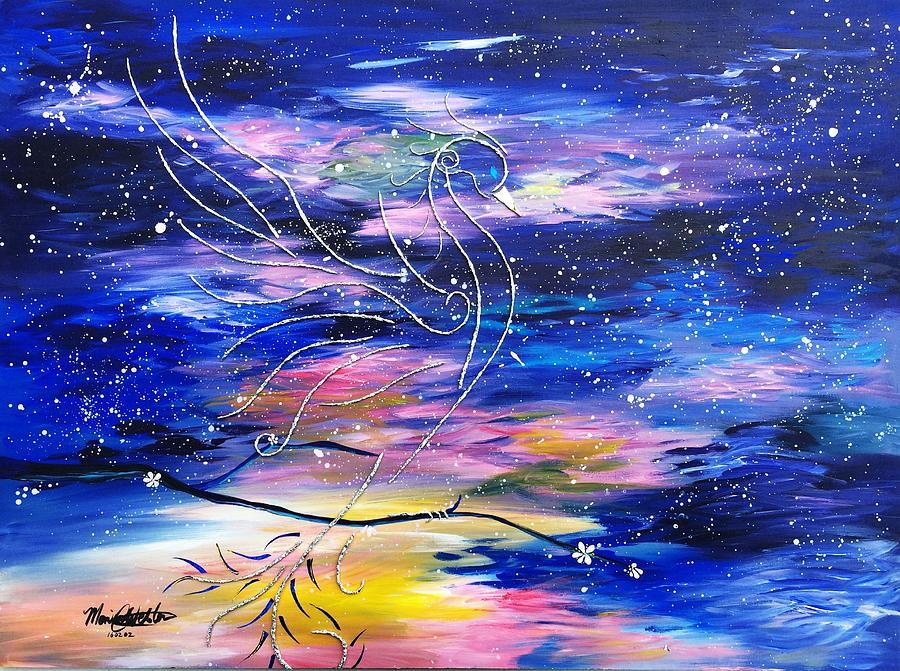 Phoenix Mixed Media - Silver Twilight Phoenix - Flight Of The Phoenixes by Monica Webster
