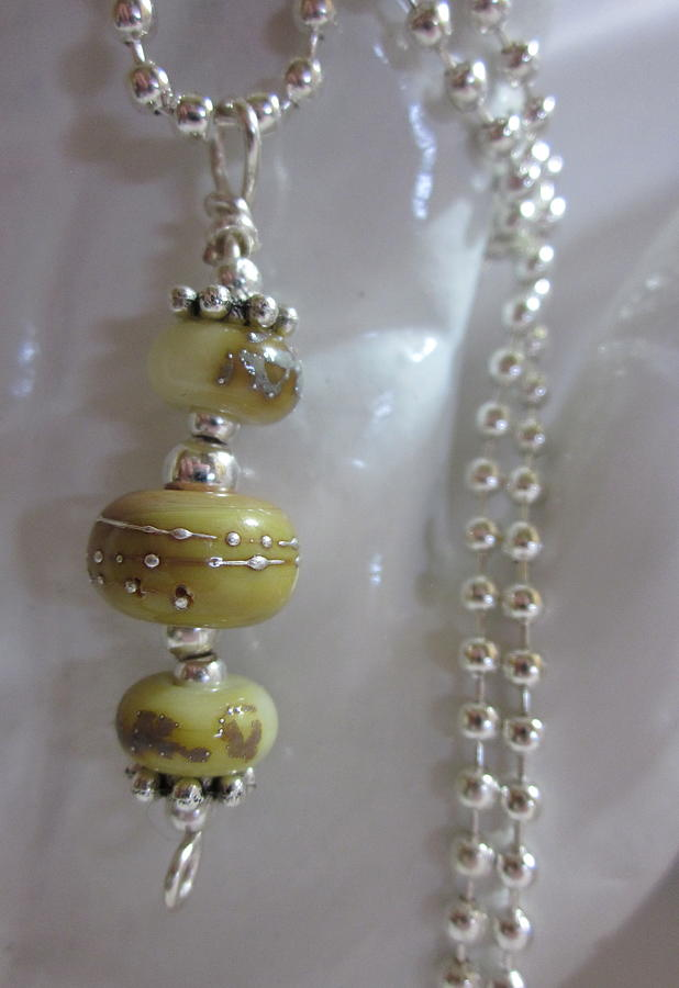 Handmade Lampwork Beads Jewelry - Silvered Earth Tones Necklace by Janet  Telander